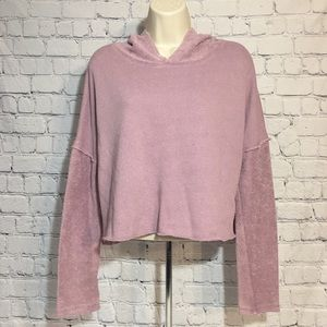 Anthro Out From Under Purple Cropped Sweatshirt